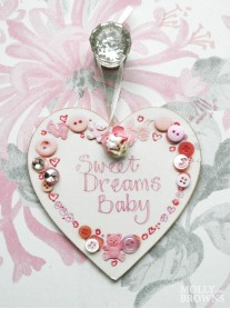 Sweet Dreams Baby - Small Heart Wall Plaque