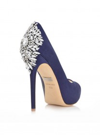Alyssa - Navy Crystal Shoes