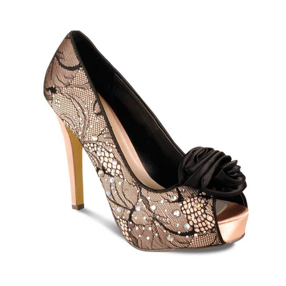 Black lace heels with bow - photo#18