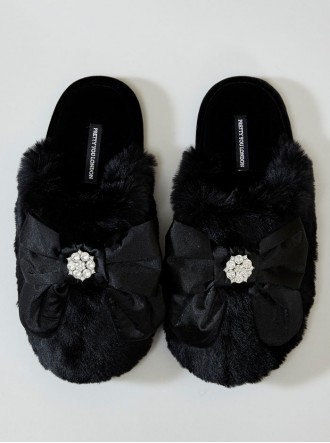 Alyssa Faux Fur Slippers - Black