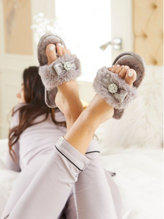 Amelie Faux Fur Slippers - Grey