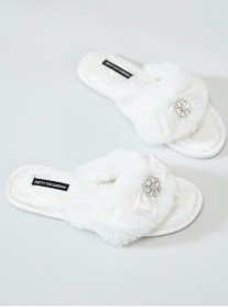 Amelie Faux Fur Slippers - White