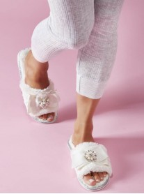 Martha Bow Faux Fur Slippers - Cream