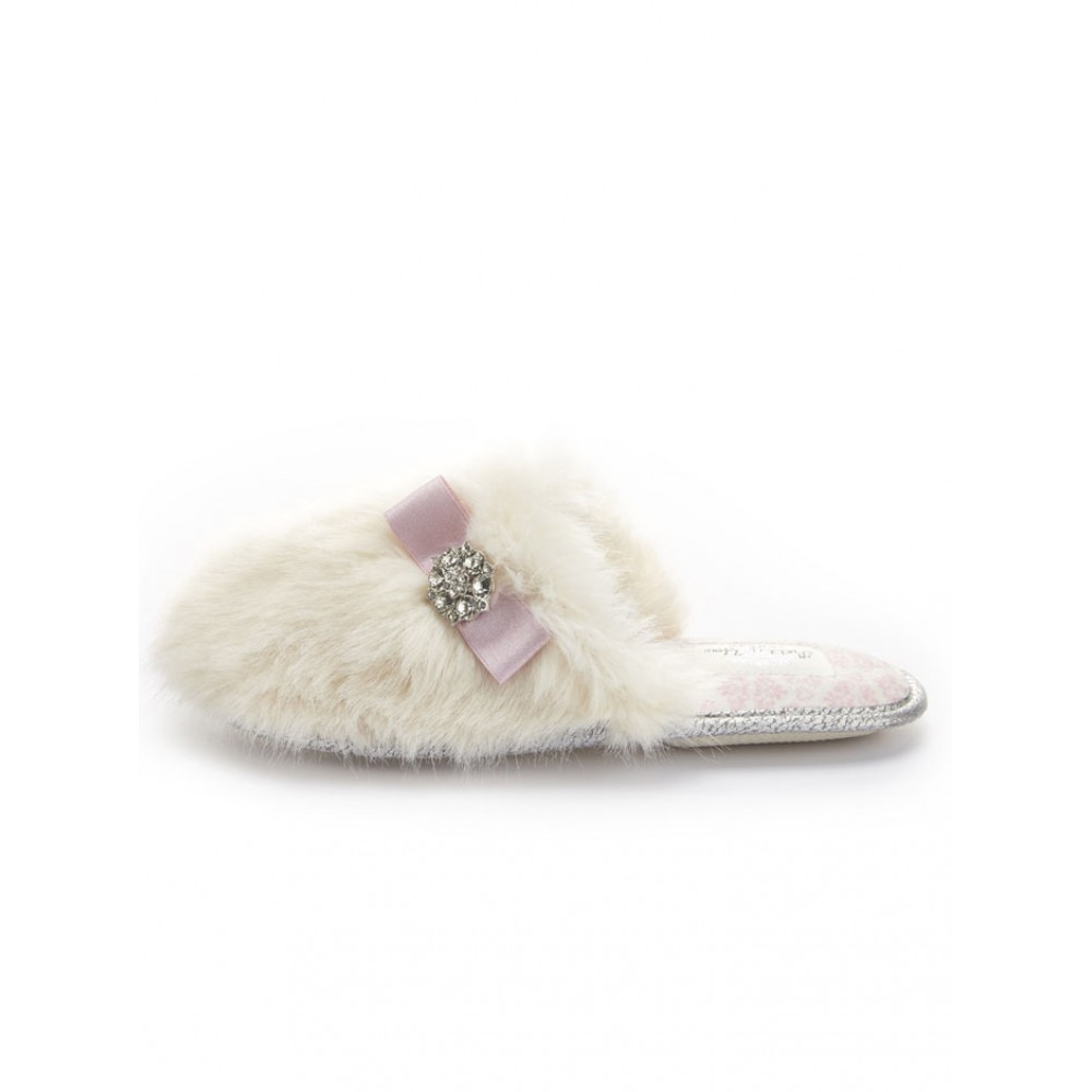 Octavia White Mule Faux Fur Slippers by Molly Browns