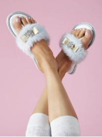 Olivia Bow Faux Fur Slippers - Blue