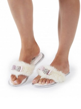 Olivia Bow Faux Fur Slippers - White