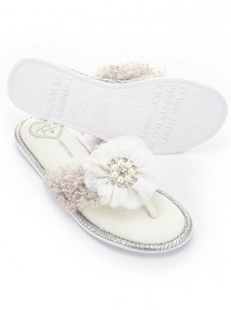 Orla Pearl & Diamante Slippers