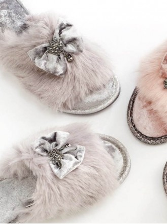 Valentina Faux Fur Slippers - Grey