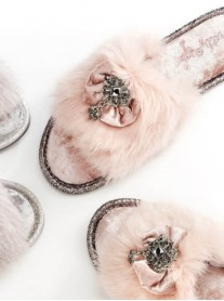 Valentina Faux Fur Slippers - Pink