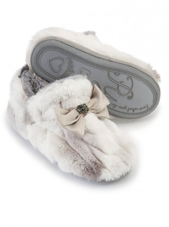 Vanna Faux Fur Slippers - White/Grey