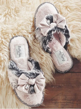Venice Faux Fur Slippers - Black
