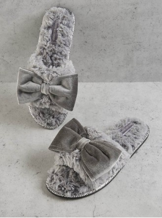 Violet Faux Fur Slippers - Grey