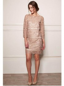 DW702 Pearl Line Lace Dress - Biscuit (Soma London)