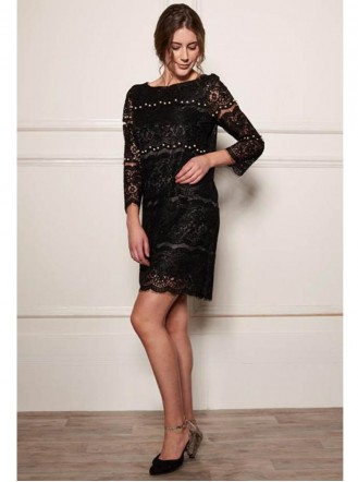 DW702 Pearl Line Lace Dress - Black (Soma London)