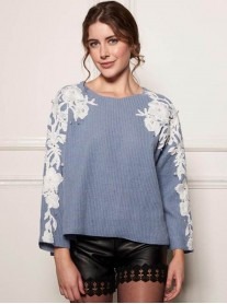 DW717 Flower Arm Top - Aqua / Ivory (Soma London)