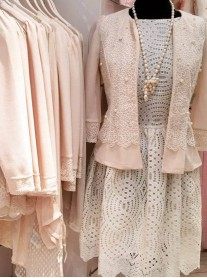 SS1609 Chiffon Pearl Flower Cardigan - Nude (Soma London)