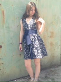 Navy Tapestry Sash Dress (Moutaki)