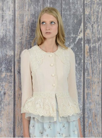 SS1612 Proud Frill Peplum Cardigan - Cream (Soma London)