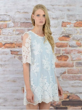 SS1621 Flake Frost Lace Shift Dress - Blue (Soma London)