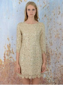 SS1626 Cracker Sequin Shift Dress - Gold (Soma London)