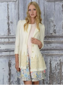 SS1649 Royal Pattern Long Jacket - Ivory (Soma London)