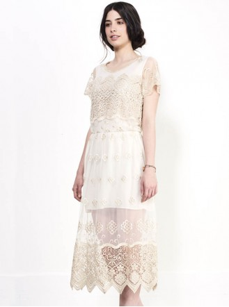 SS711 Glory Gold Lace Dress - Ivory (Soma London)