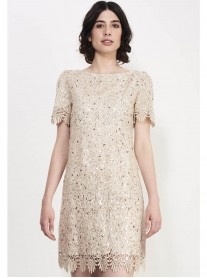 SS748 Shining Crochet Shift Dress - Gold (Soma London)