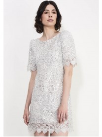 SS748 Shining Crochet Shift Dress - Silver (Soma London)