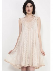 SS762 Combo Lace Dress - Nude (Soma London)