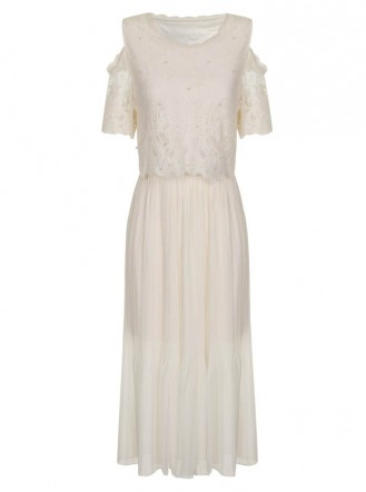 SS765 Pearl On Midi Dress - Ivory (Soma London)