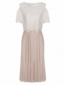 SS765 Pearl On Midi Dress - Pink (Soma London)