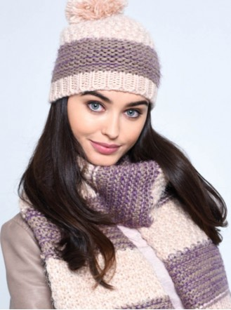 Chunky Knit Hat & Scarf Set - Grey / Dusty Pink