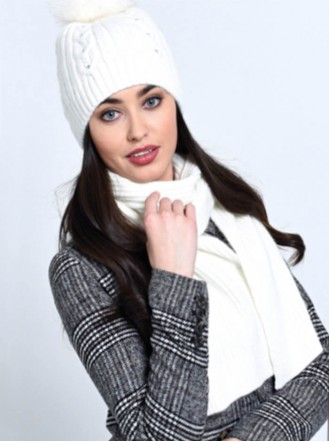 Diamante Pom Pom Hat & Scarf Set - Grey / Cream