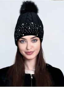 Diamante Pom Pom Hat - Black / Grey / Cream