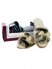 Luxury Open Toe Slippers - Beige / Grey
