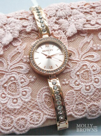 Gold Band Diamante Gold Round Face Watch