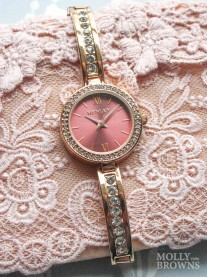Gold Band Diamante Red Round Face Watch