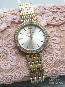Gold Diamante Round Watch
