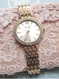 Rose Gold Diamante Round Watch