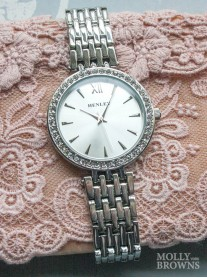Silver Diamante Round Watch
