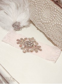 Diamante Pink Lace - Wedding Garter