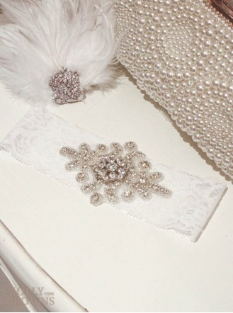 Diamante White Lace - Wedding Garter