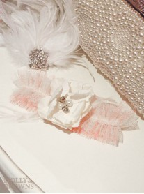 Flower & Pearl Pink Lace - Wedding Garter