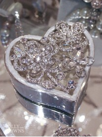 Silver Crystal Heart Trinket Box - Flowers & Butterflies