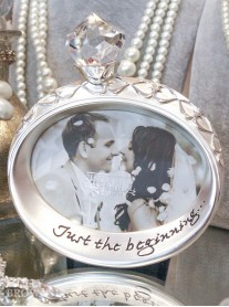 Silver Crystal Wedding Ring Photo Frame