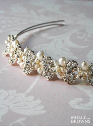 Crystal Beaded Silver Head Band
