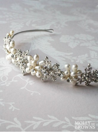 Diamante Beaded Silver Head Band