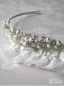 Diamante Pearl Flower Head Band