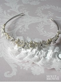 Silver Diamante Beaded Flower Head Band