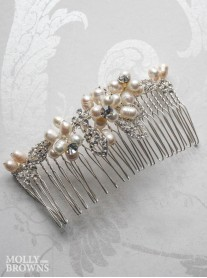 Silver Diamante Beaded Hair Clip